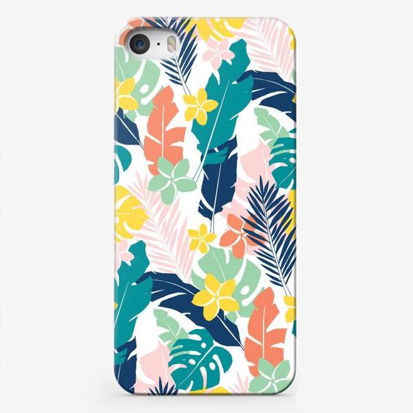 Чехол iPhone «Тропические листья. паттерн»