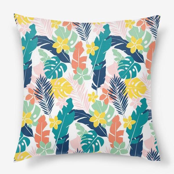 Подушка «Тропические листья. паттерн»
