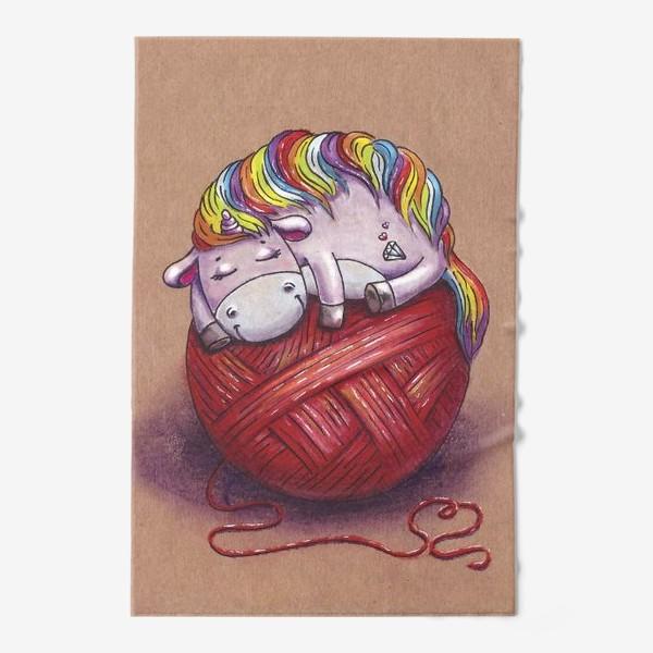 Полотенце «Единорог спит. Красный клубок. Вязание.»