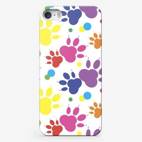 Чехол iPhone «Паттерн радужные лапки»