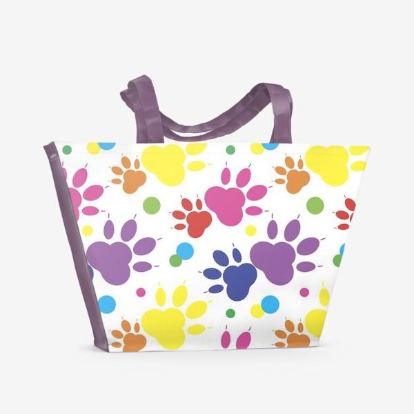 Пляжная сумка «Паттерн радужные лапки»
