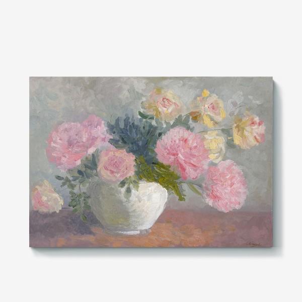 Холст «Букет пионов с розами»