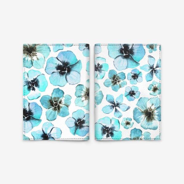 Обложка для паспорта «Бирюзовые цветы»