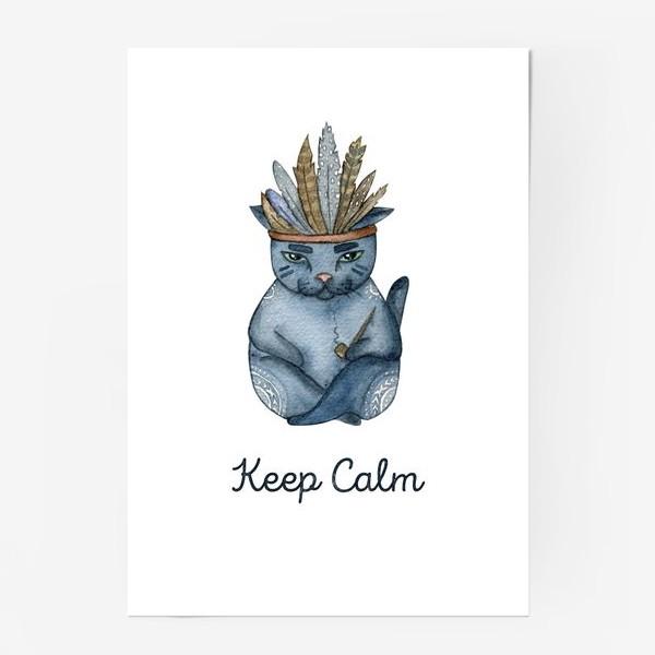 Постер «Магический кот-индеец, подарок для любителей котов»
