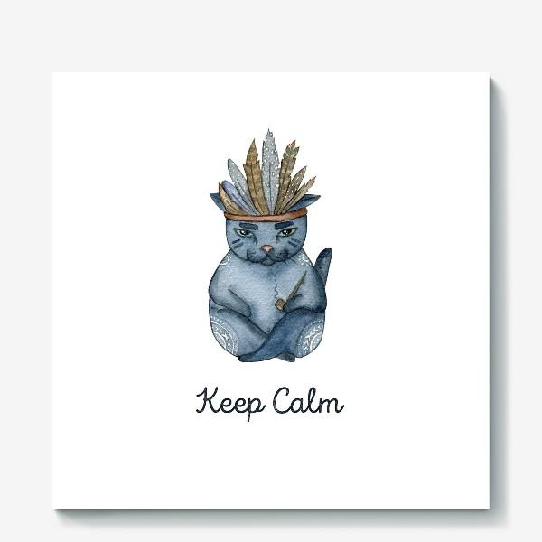 Холст «Магический кот-индеец, подарок для любителей котов»