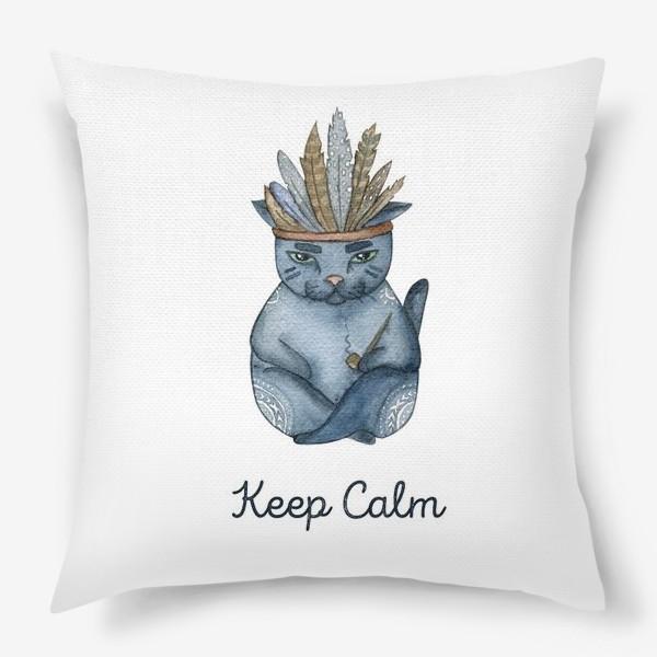 Подушка «Магический кот-индеец, подарок для любителей котов»