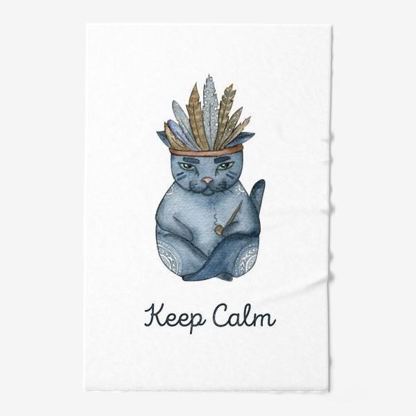 Полотенце «Магический кот-индеец, подарок для любителей котов»