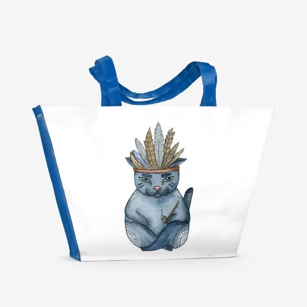 Пляжная сумка «Магический кот-индеец, подарок для любителей котов»