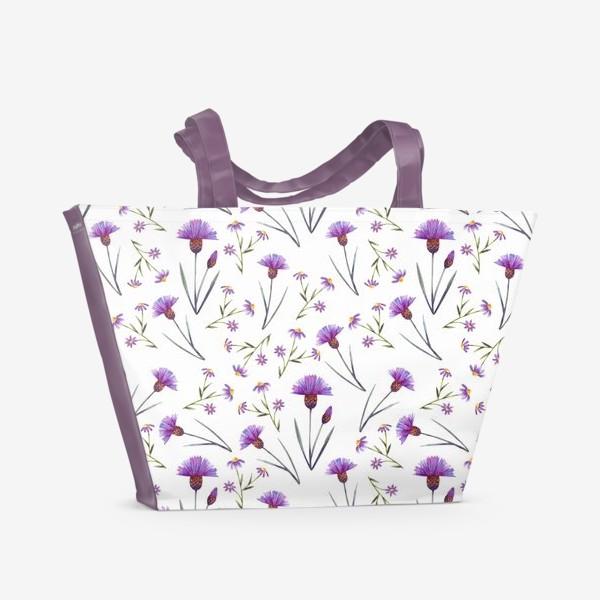 Пляжная сумка «Васильки на белом»