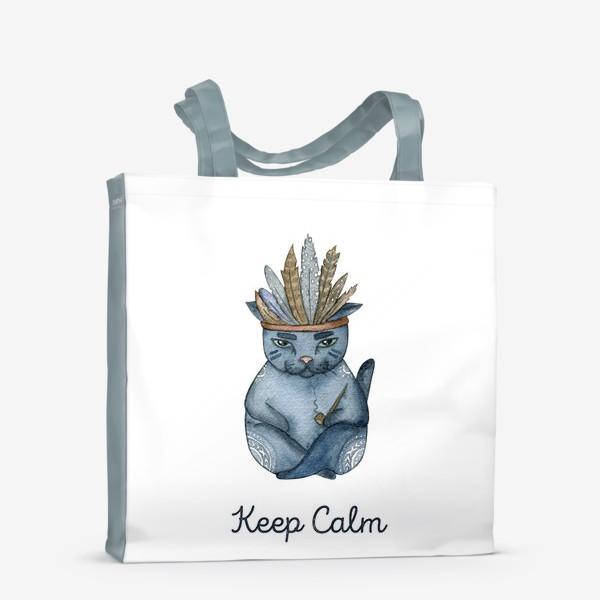 Сумка-шоппер «Магический кот-индеец, подарок для любителей котов»