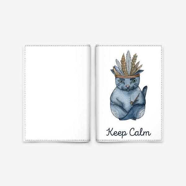 Обложка для паспорта «Магический кот-индеец, подарок для любителей котов»
