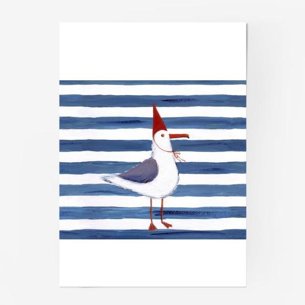 Постер «Чайка на полосатом фоне в красном колпаке.»