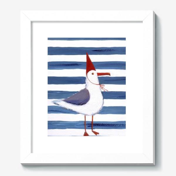 Картина «Чайка на полосатом фоне в красном колпаке.»
