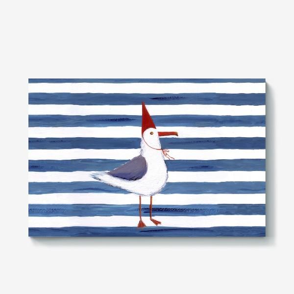 Холст «Чайка на полосатом фоне в красном колпаке.»