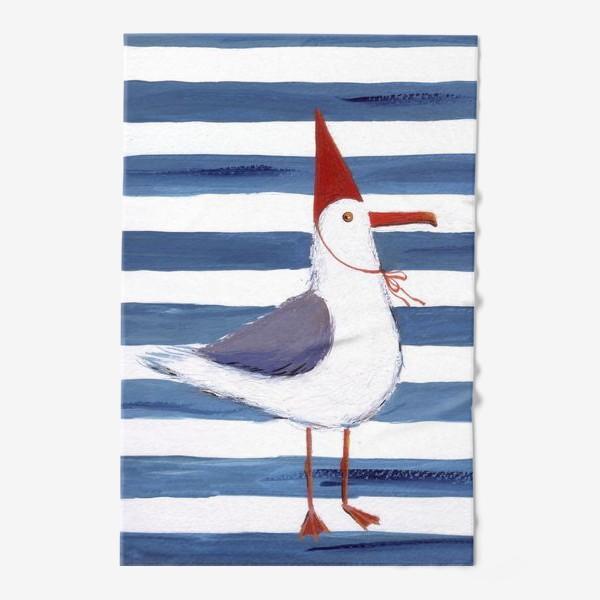 Полотенце «Чайка на полосатом фоне в красном колпаке.»