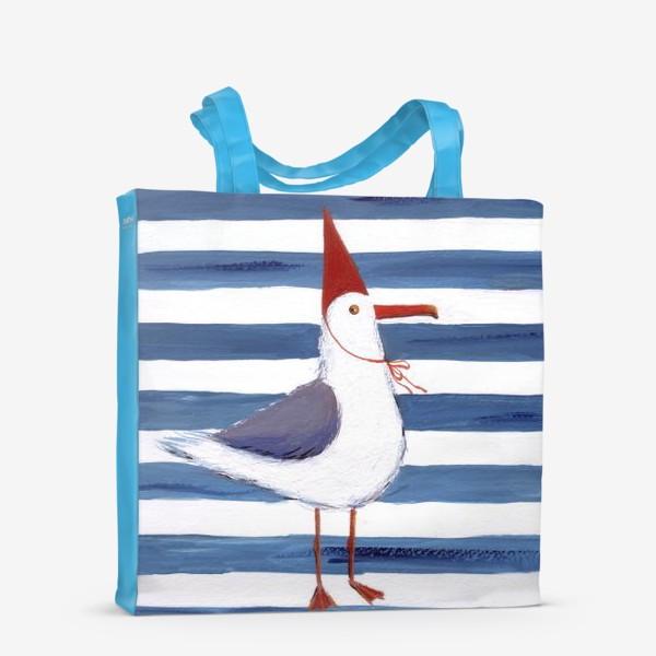 Сумка-шоппер «Чайка на полосатом фоне в красном колпаке.»