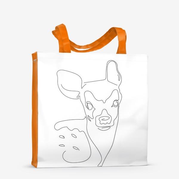 Сумка-шоппер «Олененок. Графика. Линейный рисунок»