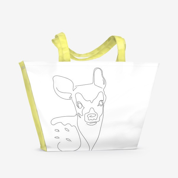 Пляжная сумка «Олененок. Графика. Линейный рисунок»