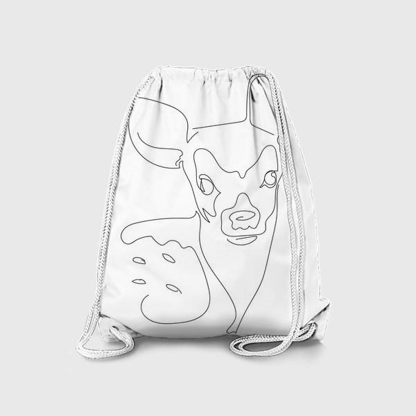 Рюкзак «Олененок. Графика. Линейный рисунок»