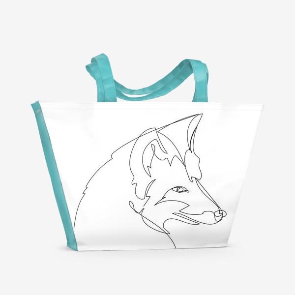 Пляжная сумка «Лиса крупным планом. Графика. Линейный рисунок»