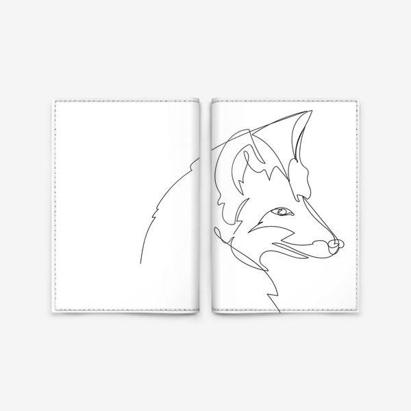 Обложка для паспорта «Лиса крупным планом. Графика. Линейный рисунок»