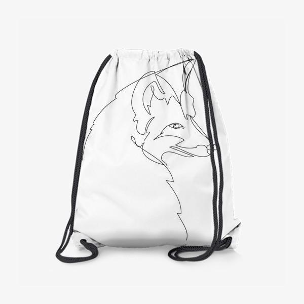 Рюкзак «Лиса крупным планом. Графика. Линейный рисунок»