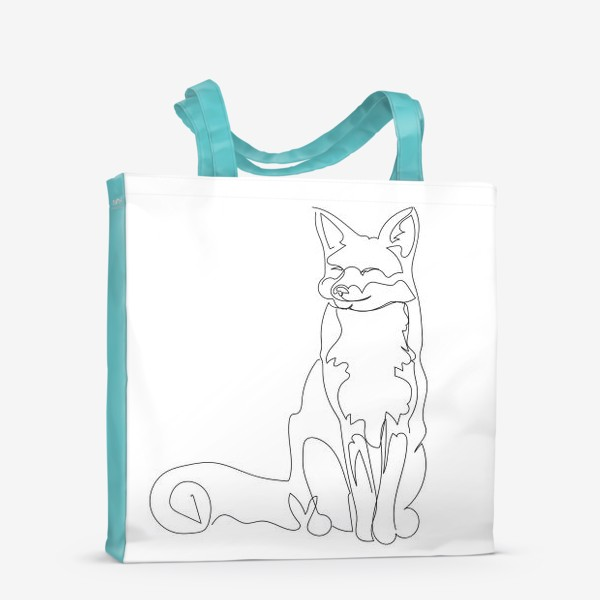 Сумка-шоппер «Лиса. Графика. Линейный рисунок»
