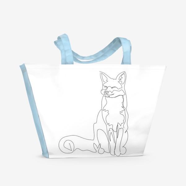 Пляжная сумка «Лиса. Графика. Линейный рисунок»