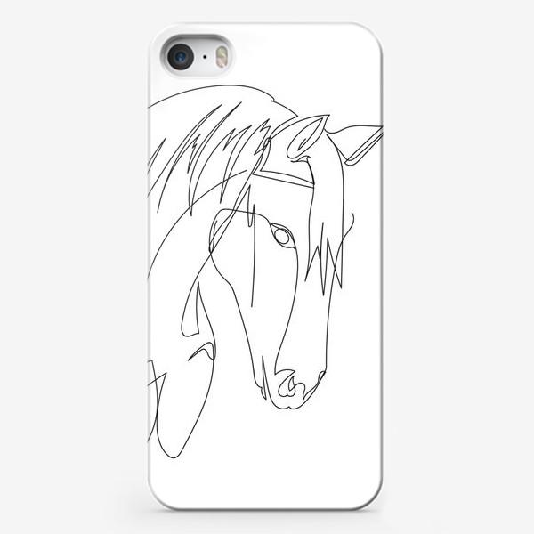 Чехол iPhone «Конь. Графика. Линейный рисунок»
