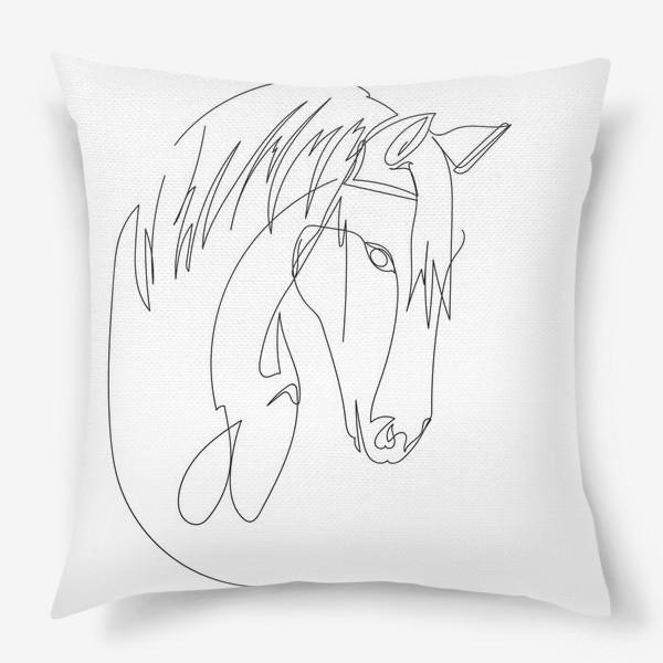 Подушка «Конь. Графика. Линейный рисунок»