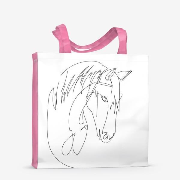 Сумка-шоппер «Конь. Графика. Линейный рисунок»