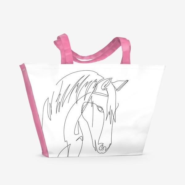 Пляжная сумка «Конь. Графика. Линейный рисунок»