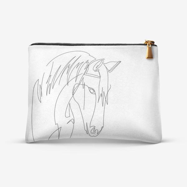 Косметичка «Конь. Графика. Линейный рисунок»