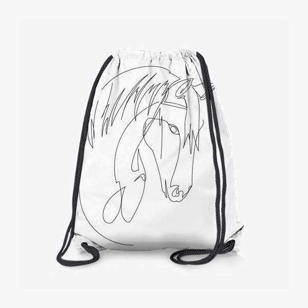 Рюкзак «Конь. Графика. Линейный рисунок»