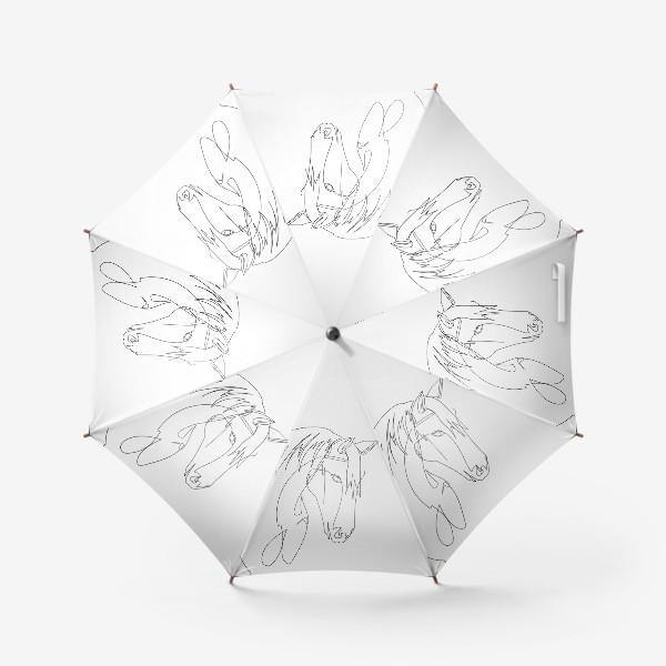 Зонт «Конь. Графика. Линейный рисунок»