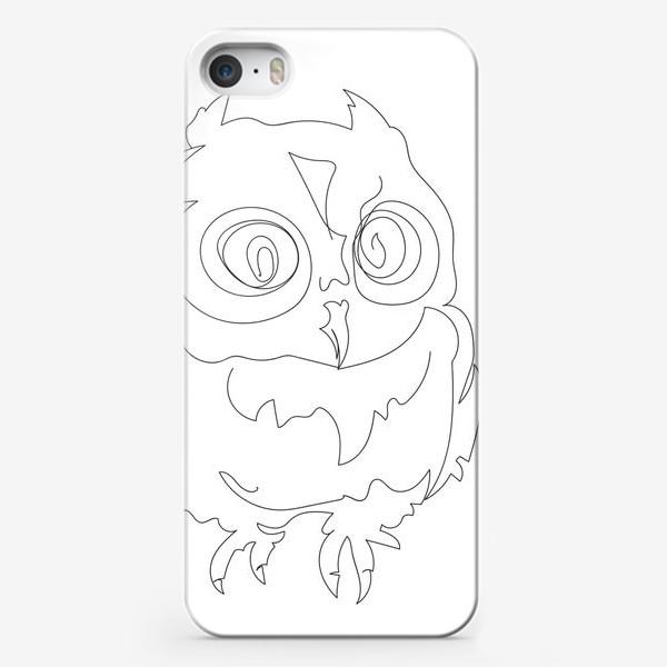 Чехол iPhone «Сова. Графика. Линейный рисунок.»