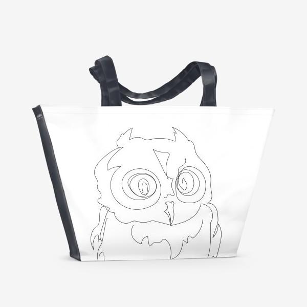 Пляжная сумка «Сова. Графика. Линейный рисунок.»