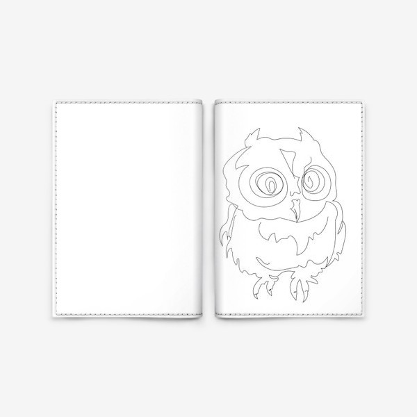 Обложка для паспорта «Сова. Графика. Линейный рисунок.»