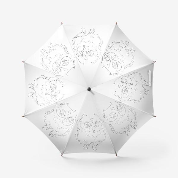 Зонт «Сова. Графика. Линейный рисунок.»