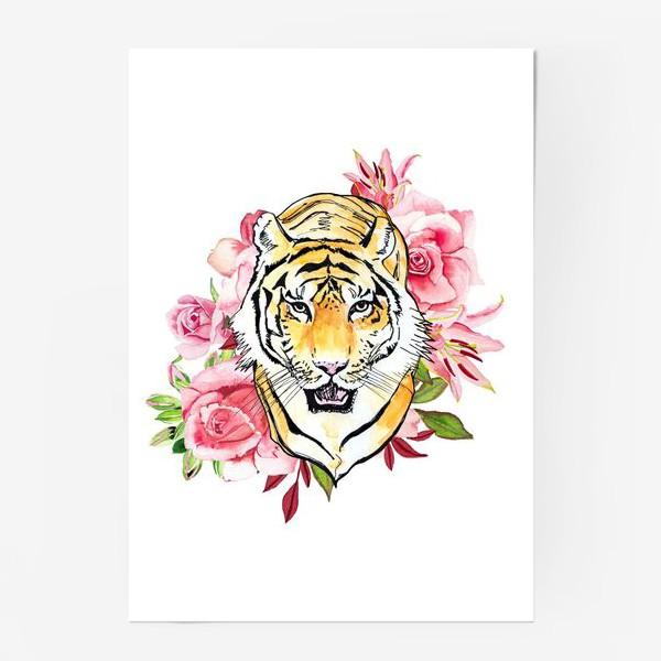 Постер «Тигр и розовые розы акварель»