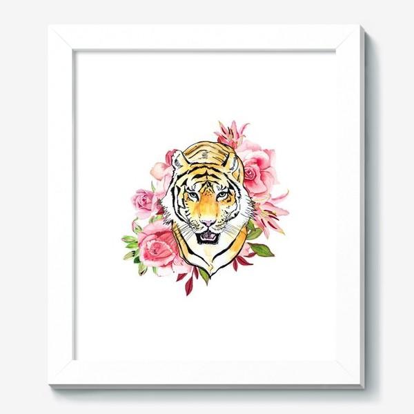 Картина «Тигр и розовые розы акварель»