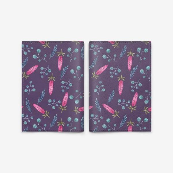 Обложка для паспорта «Розовые полевые цветы и растения на фиолетовом»