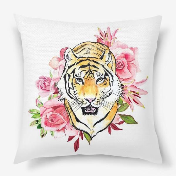 Подушка «Тигр и розовые розы акварель»