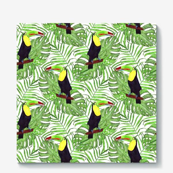 Холст «акварельный тропический паттерн с туканом и листьми пальмы и монстеры»