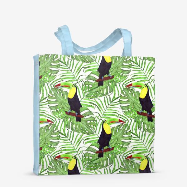 Сумка-шоппер «акварельный тропический паттерн с туканом и листьми пальмы и монстеры»