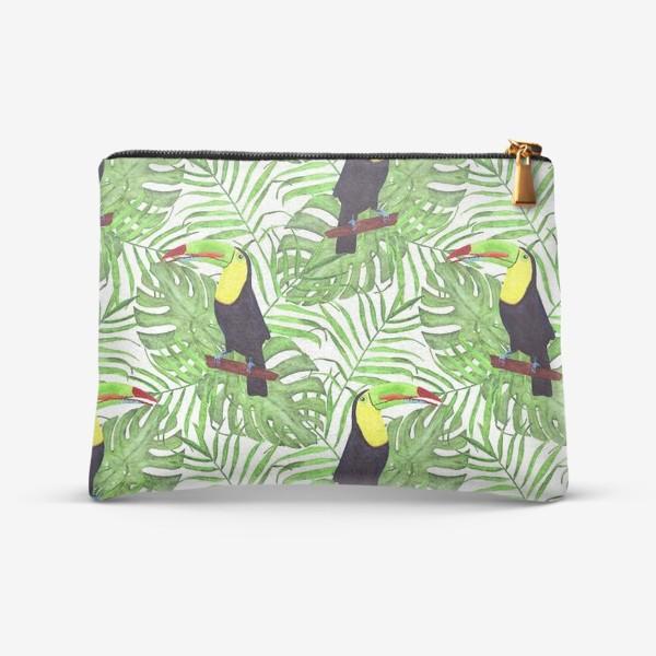 Косметичка «акварельный тропический паттерн с туканом и листьми пальмы и монстеры»