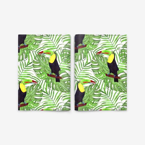 Обложка для паспорта «акварельный тропический паттерн с туканом и листьми пальмы и монстеры»