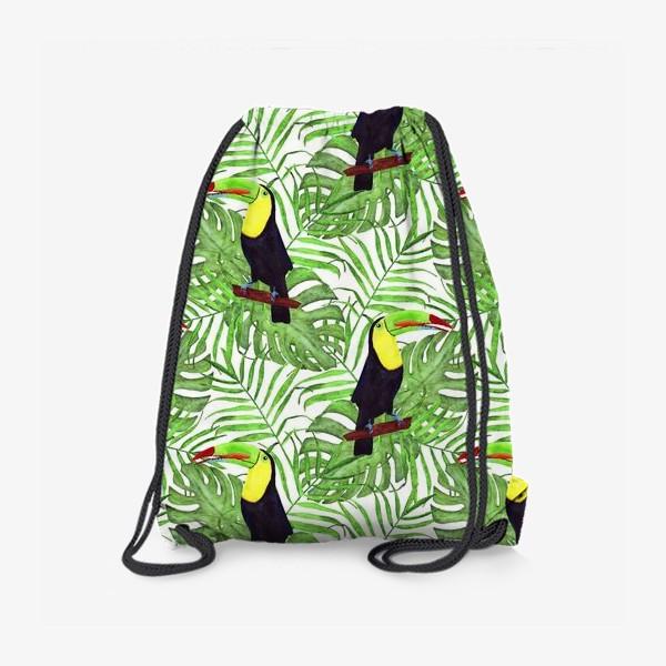 Рюкзак «акварельный тропический паттерн с туканом и листьми пальмы и монстеры»