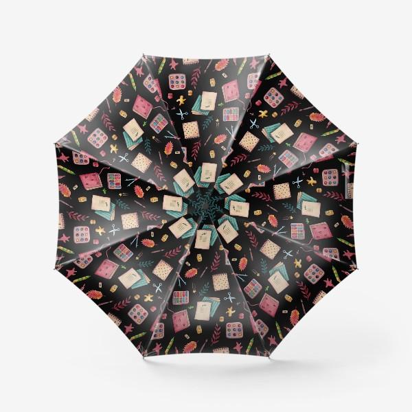 Зонт «Подарок первокласснику, выпускнику. Подарок учителю. Паттерн из школьных принадлежностей и листьев.»