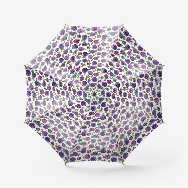 Зонт «Паттерн фиолетовые анемоны»